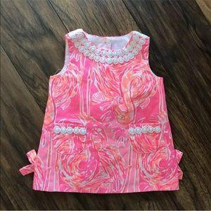 Lilly Pulitzer shift dress tiki pink tapin in back